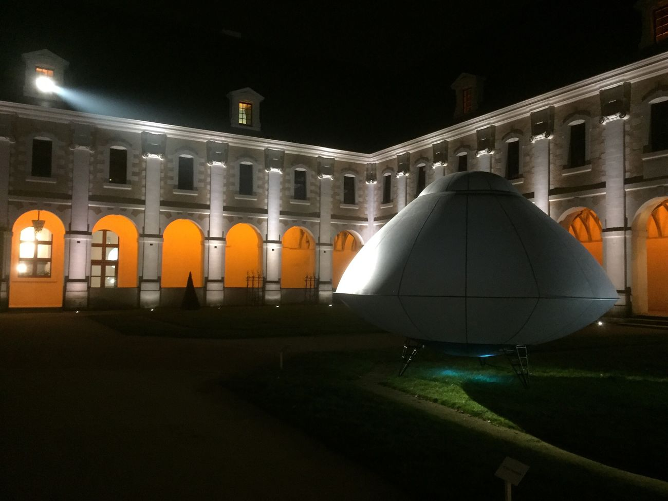 Built Structure Architecture Illuminated Night Building Exterior No People Sculpture Ovni UFO Joel Hubaut Patrimoine France Science Fiction Night Photography Light And Shadow Lights