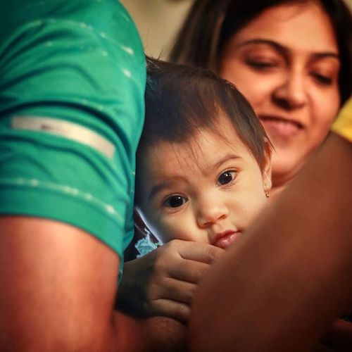 Cute Baby Girl Beautiful Eyes Family Pamper Time Candid