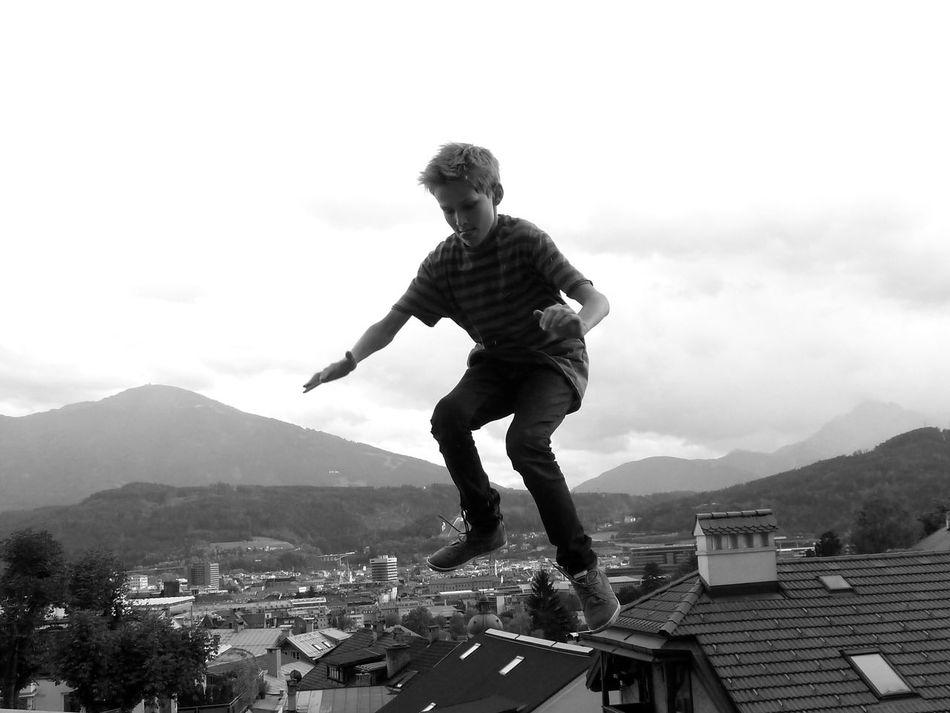 Blackandwhite Boy Friend Fun Innsbruck Jump Jumping Roof Rooftop Town