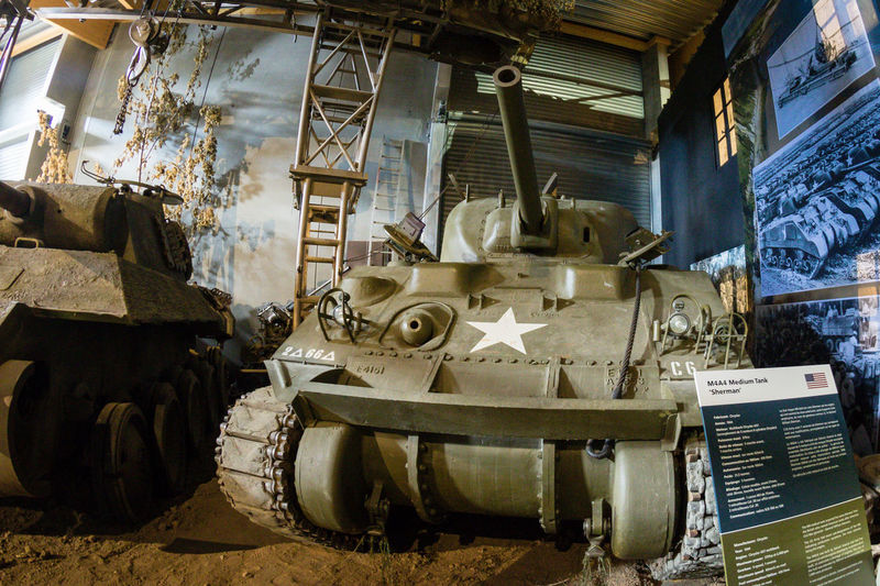 Overlord Museum, Colleville-sur-mer, Normandy, France, July 2017 D-Day II War World. Overlord Museum Exhibition Exhibits Exposure Museum Omaha Beach Overlord Sherman Tank Tank