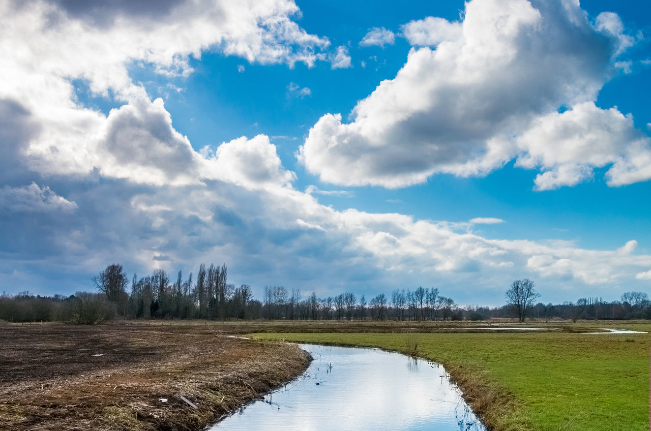 Blue Cloud - Sky Cumulus Cloud Field Grass Landscape Lier Non-urban Scene River Riverscape Riverside Sky Standing Water Stream Tranquil Scene Tranquility Water