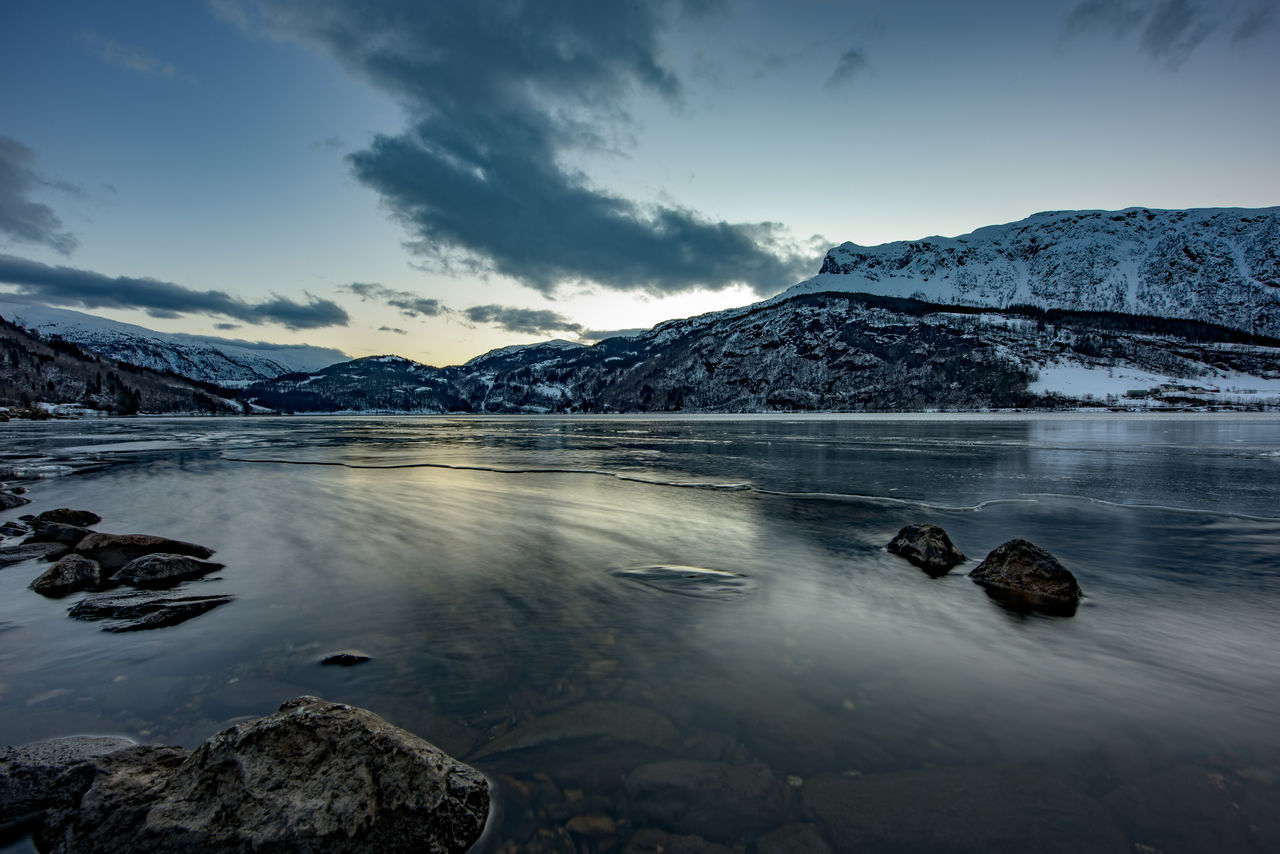 Winter in Norway Blue Copy Space Frost Hills Lake Landscape Long Exposure Nature No People Norway Rocks Water Winter