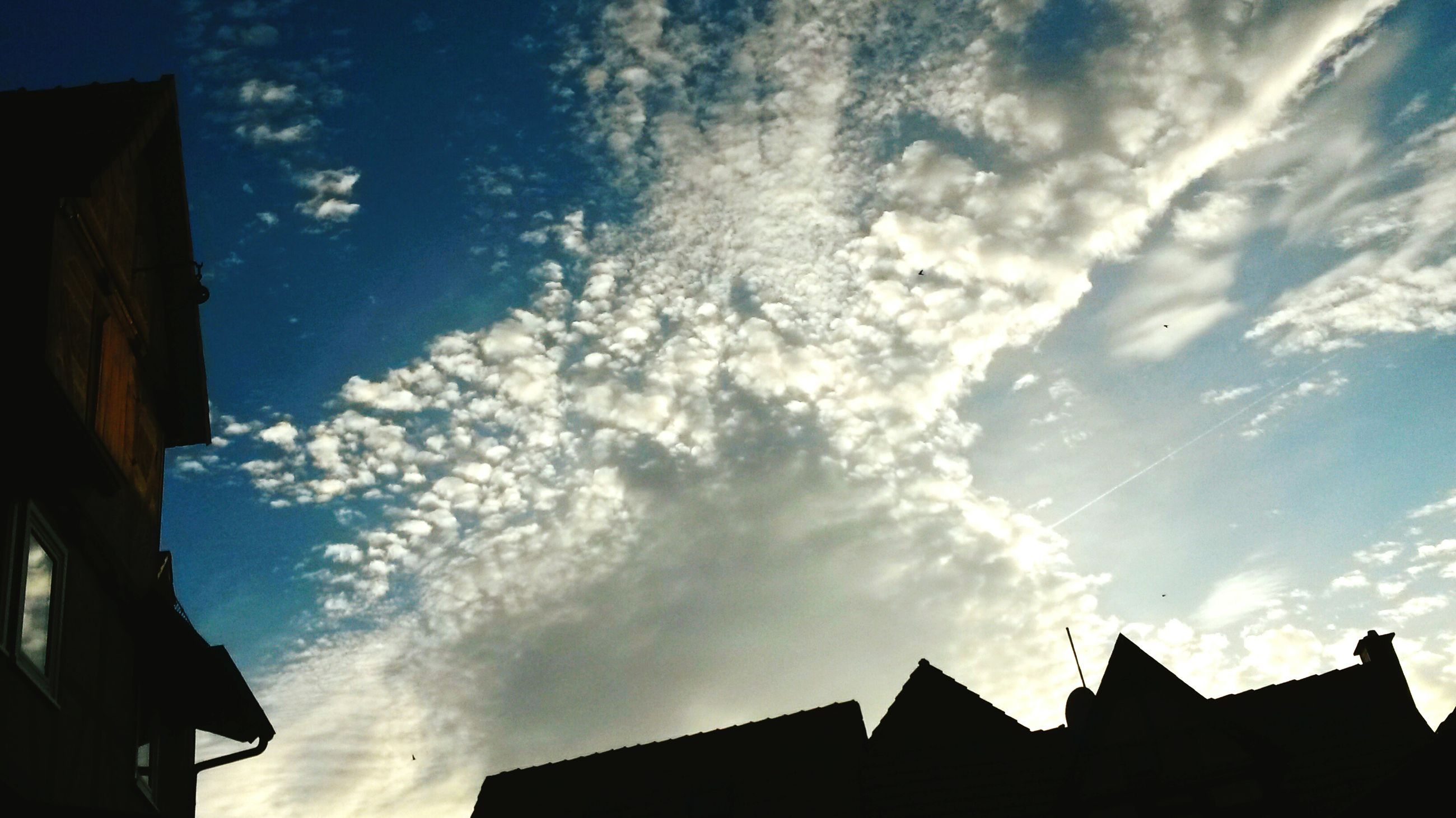 building exterior, architecture, built structure, low angle view, sky, cloud - sky, house, high section, residential structure, cloud, residential building, building, silhouette, blue, outdoors, roof, sunlight, nature, cloudy, no people