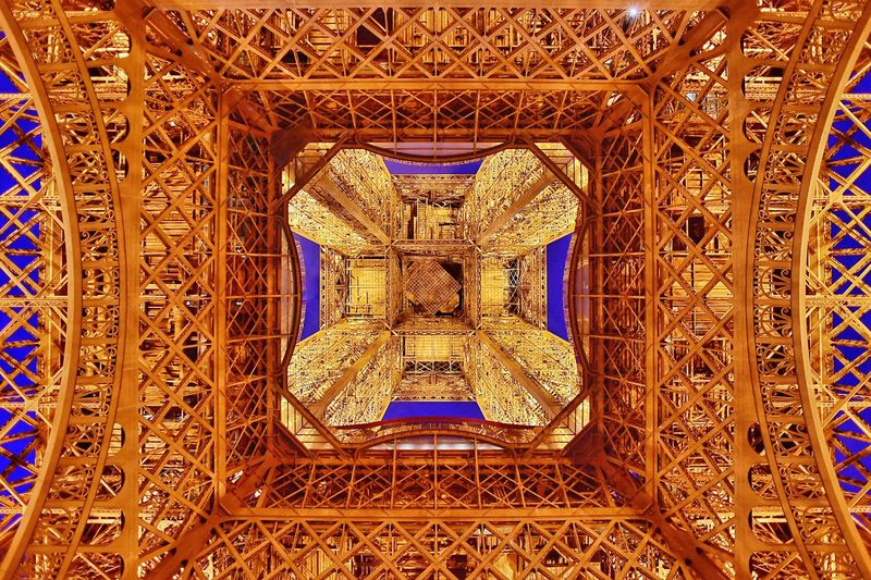 Below Tour Eiffel Gold Colored Architecture No People Gold Fresh On Eyeem  The Week Of Eyeem Paris Paris, France  Tour Eiffel Eiffel Tower Right Below Below The Tower Architecture Twilight Sky The Architect - 2017 EyeEm Awards