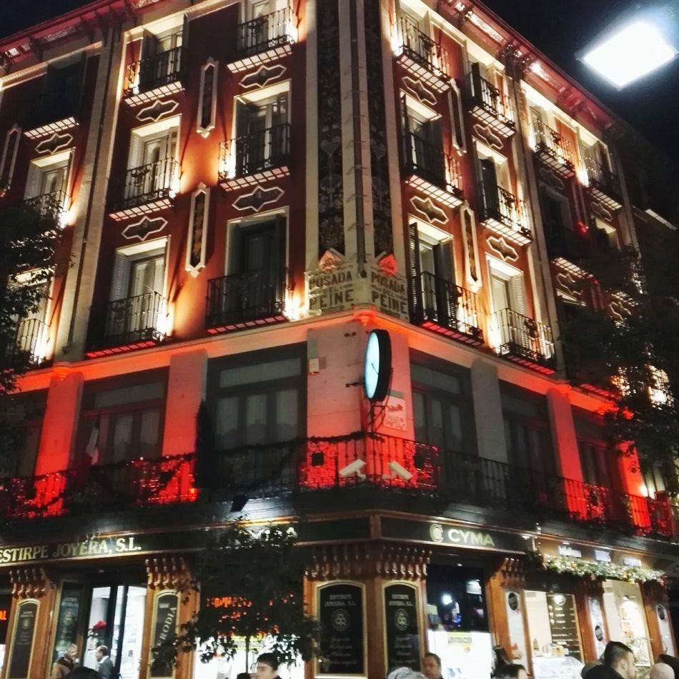 Architecture Building Exterior Cityscape Red Night Illuminated Fachadas De Madrid Plaza Mayor (Madrid).