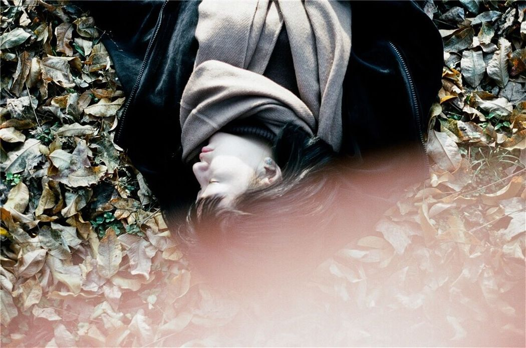 Film Film Photography Quiet Moments ThatsMe One Person My Unique Style Sleeping Beauty Lying Down Beauty In Nature Fallen Leaves Leaves High Angle View Daydreaming