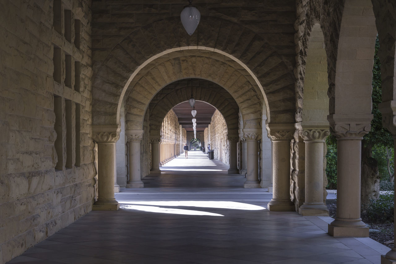 arch, history, architecture, indoors, built structure, architectural column, corridor, the way forward, sunlight, day, no people