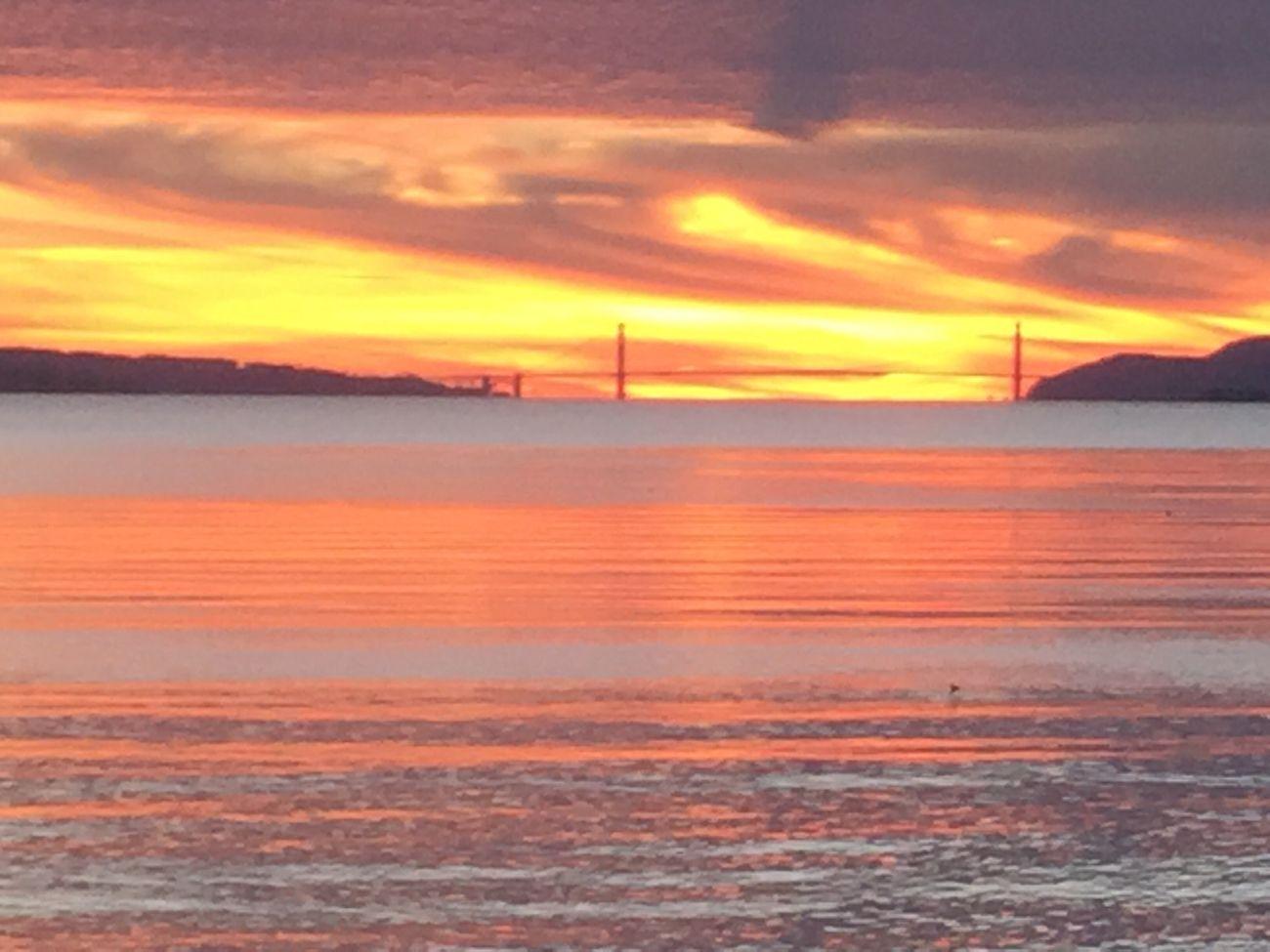 Golden Gate Sunset Orange Color Sky Water Scenics Cloud - Sky Waterfront Nofilter GoldenGateBridge SanFranciscoBay Horizon Over Water Built Structure Cloudscapes