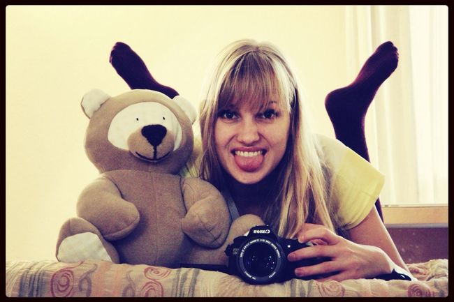 With TeDi on our california king bed :) BabyWatch