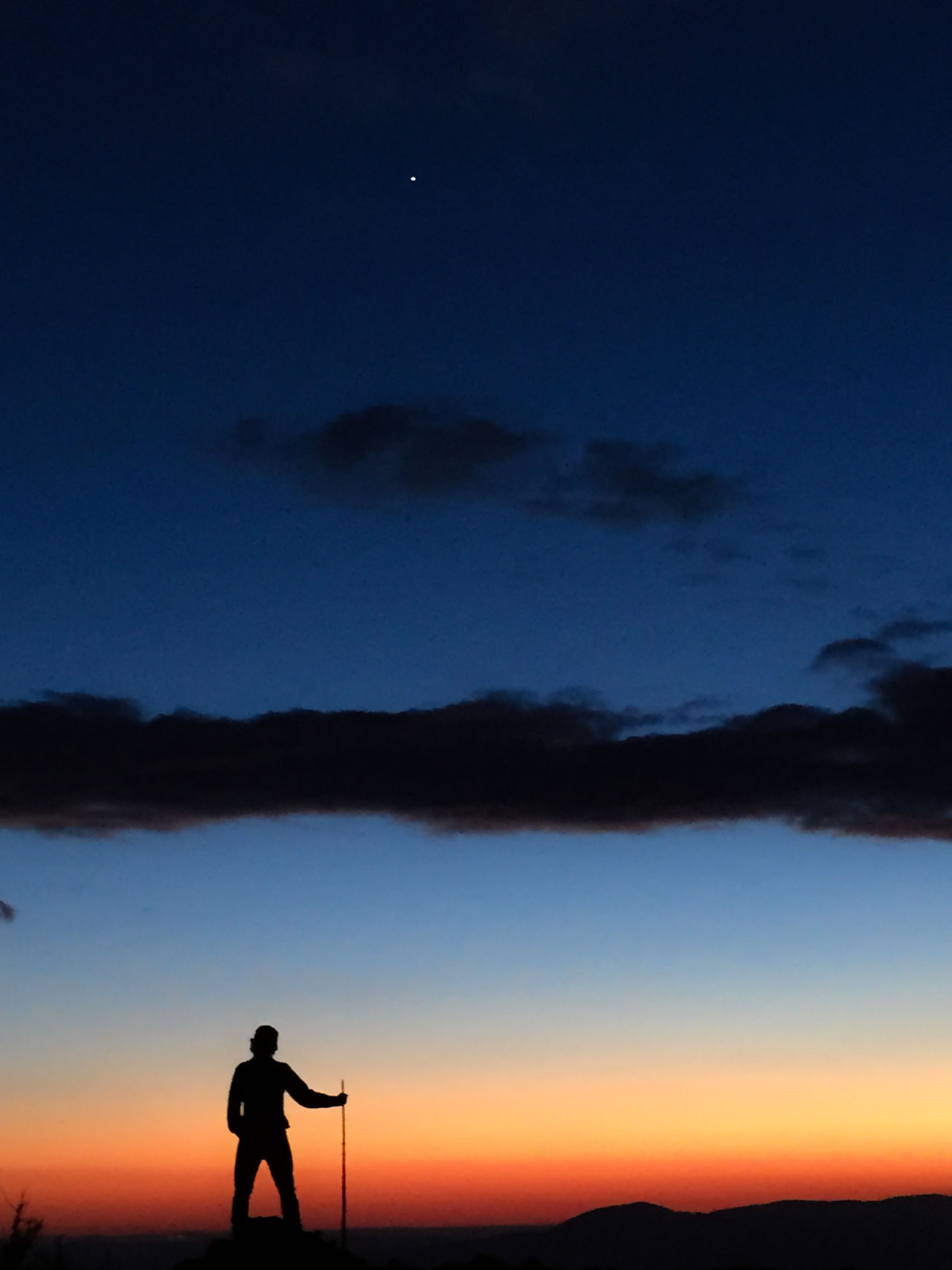 Beauty In Nature Camera - Photographic Equipment Full Length Leisure Activity Lifestyles Men Nature Night One Man Only One Person Outdoors People Real People Scenics Silhouette Sky Standing Sunset Tranquil Scene Tranquility Tree