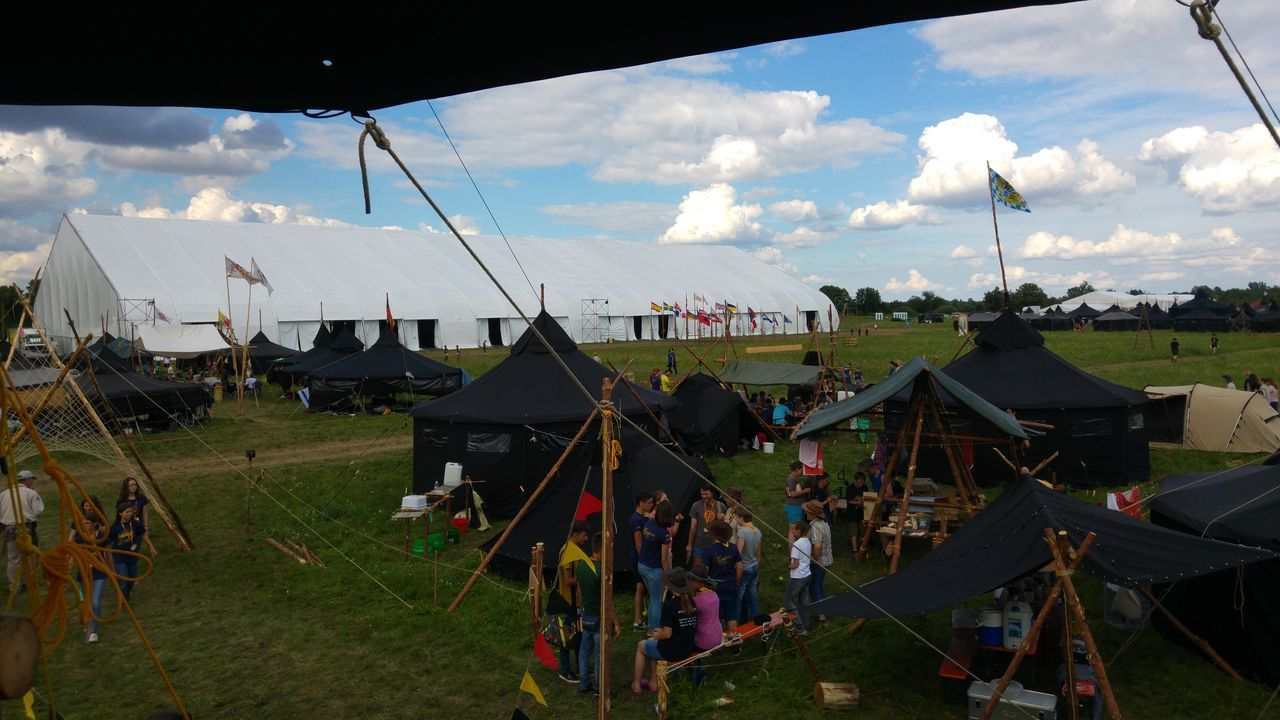 Eurocamp 2016 in Poland Cloud - Sky Day Ec16poland Field Grass Landscape Large Group Of People Nature Outdoors People RoyalRangers Sky Tent The Photojournalist - 2017 EyeEm Awards