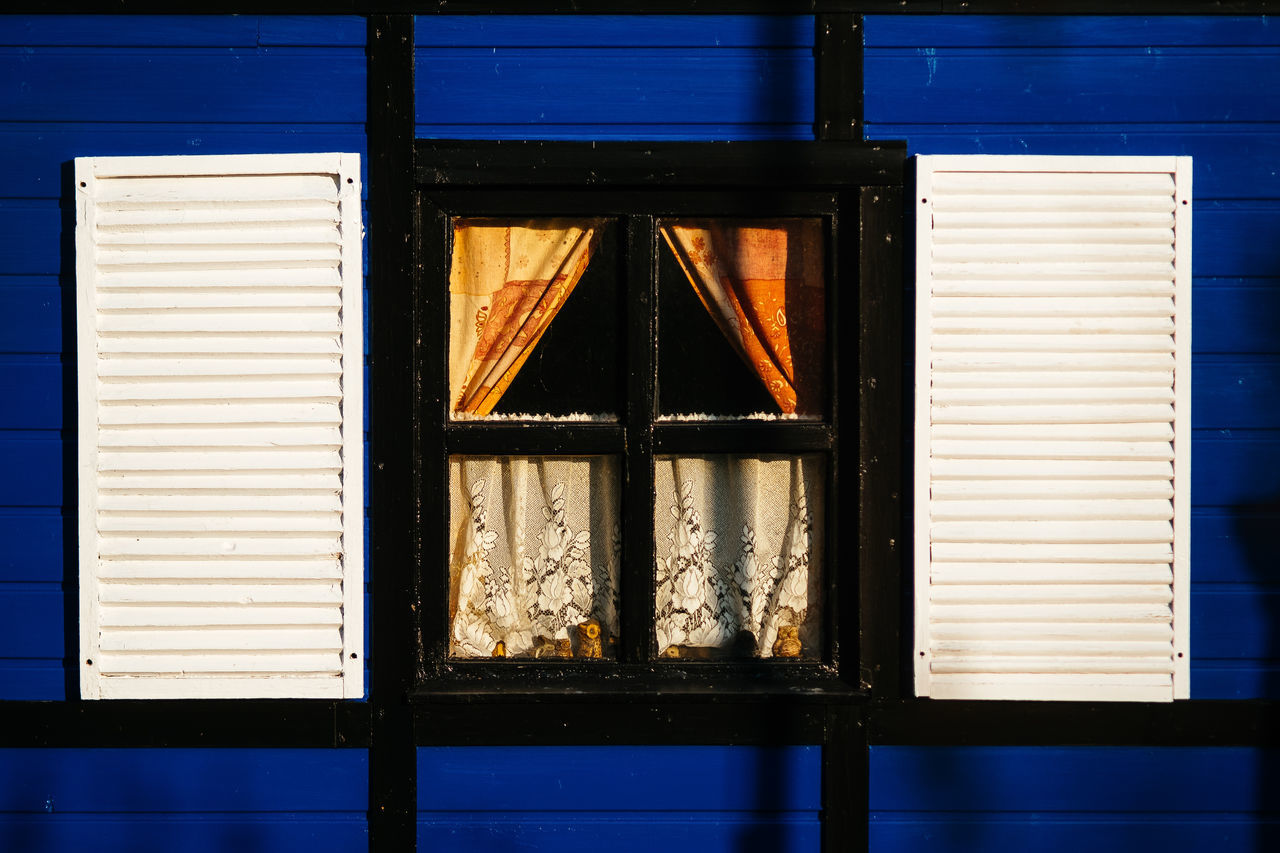 blue frame Architecture Building Exterior Built Structure Day No People Old Outdoors Sunlight Window The City Light