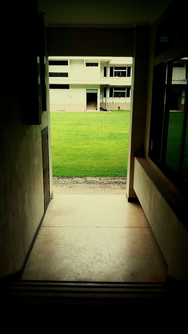 grass, empty, window, architecture, no people, entry, nature, day, indoors