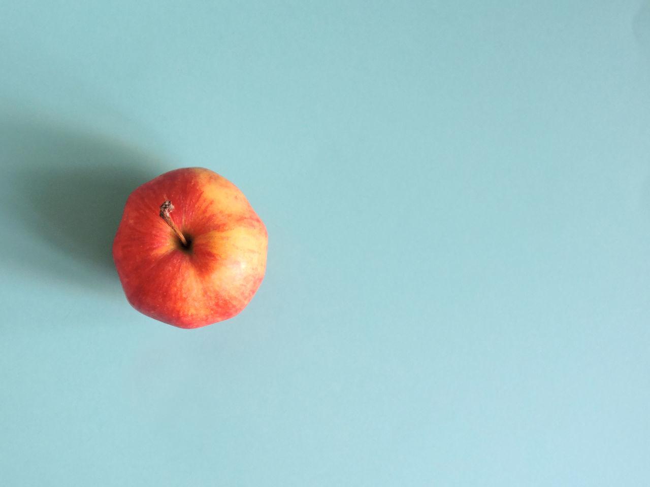 Above View Apple Blue Background Fruit Minimal Simple Studio