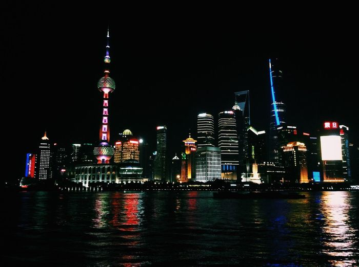 All The Neon Lights The Bund Shanghai Skyscraper Night Lights Night View Human Meets Technology