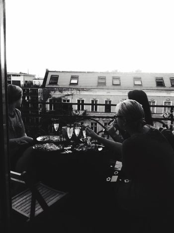 Sharing A Moment Blackandwhite Up On The Roof Berlin City View  Roofs Cityscapes