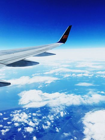 Beautiful airplane view Airplane Blue Transportation Airplane Wing Aerial View Sky Journey Flying Nature Day No People Aircraft Wing Air Vehicle Mid-air Travel Mode Of Transport Outdoors Cloud - Sky Scenics