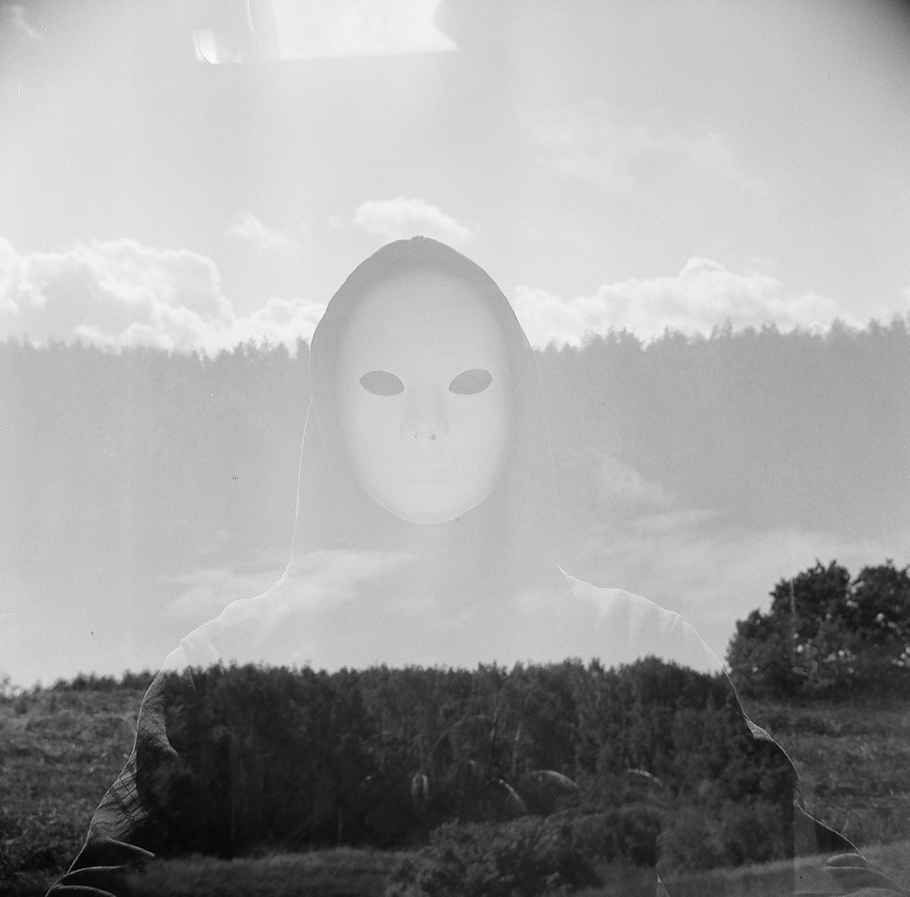 Black And White Blackandwhite Day Film Filmphotography Forest Horror Human Representation Mask Multiexposure  Outdoors Wood