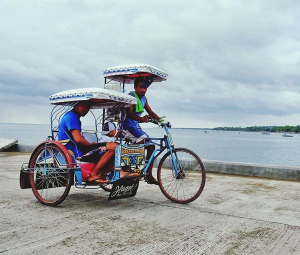 Tri-sikad Transportation Bicycle People Trisikad Philippine Transport System Riding