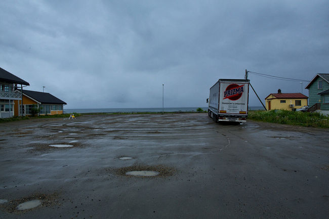 Lonely truck on a parking in Andenes on a rainy day Andenes Cloud - Sky Day Lonely Tree Mode Of Transport No People Outdoors Parking Sea Shore Sky Tristess Truck Vesterålen Water Weather