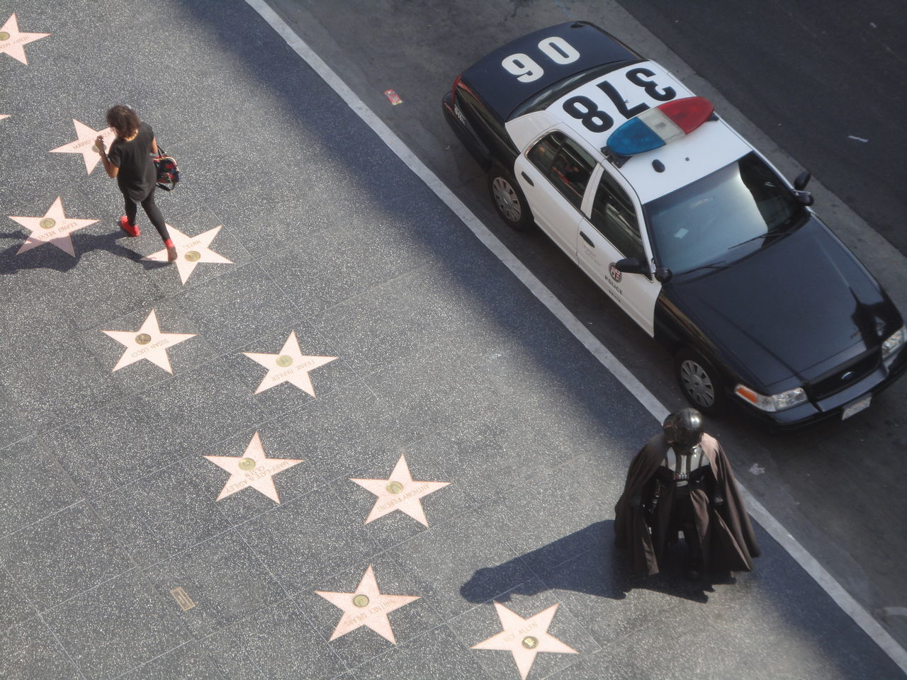 She didn't join the dark side Absurd California Dark Side Darth Vader Daydream High Angle View Hollywood Hollywood Blvd Observation Police Car Sinister Stars Street Life Supervillain The Street Photographer - 2017 EyeEm Awards Walk Of Fame EyeEmNewHere
