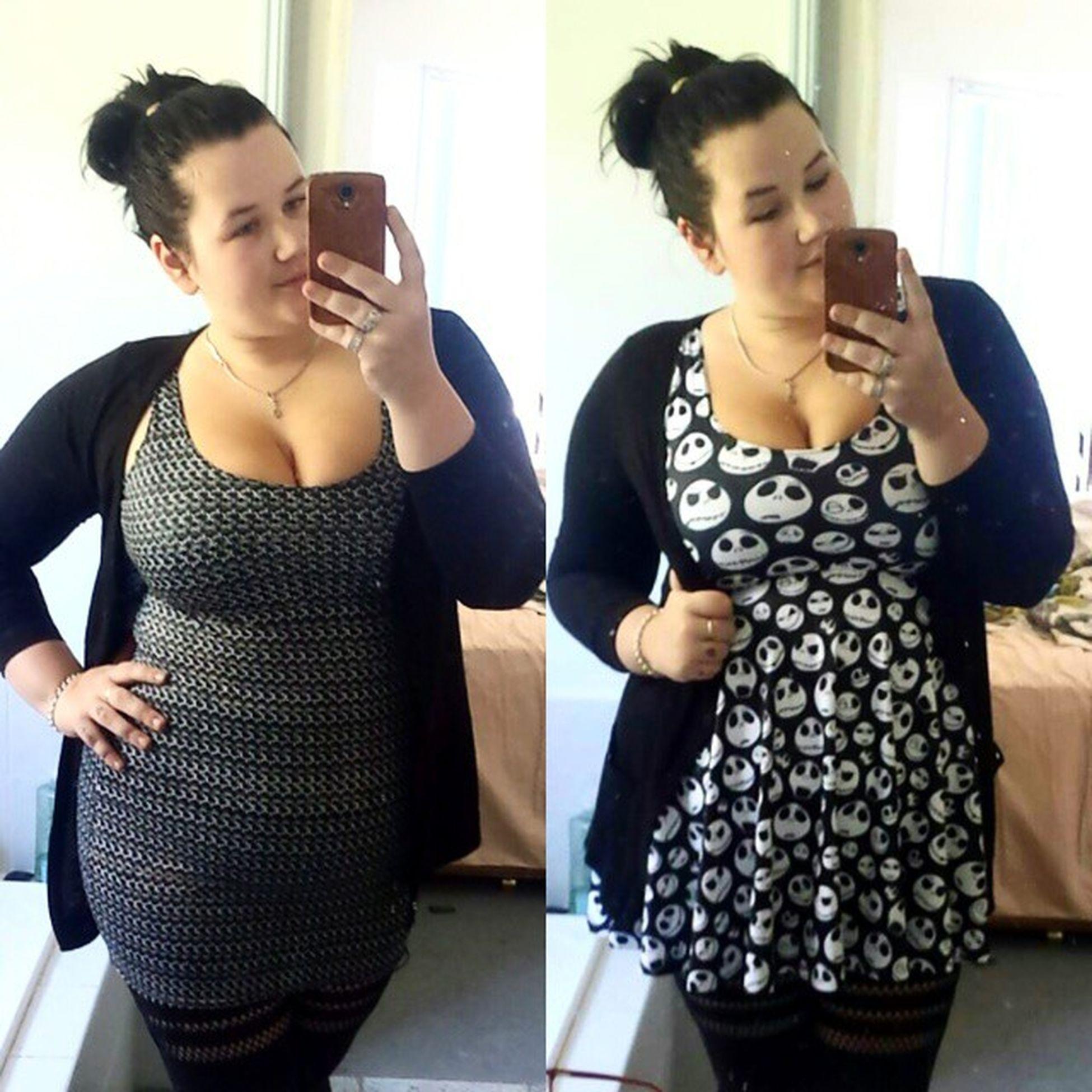 Little bit indecisive today with my outfit. Blackmilkclothing Bmjackskellingtonscoopskaterdress Bmchainmaildress Bmsportystripeshosiery2 BMLL bmcurves doublebm effyourbeautystandards