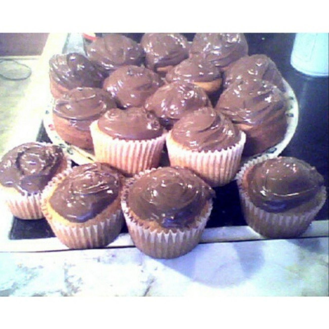 Chilling naked on my couch with my nutella cupcake. Whenimaloneathome