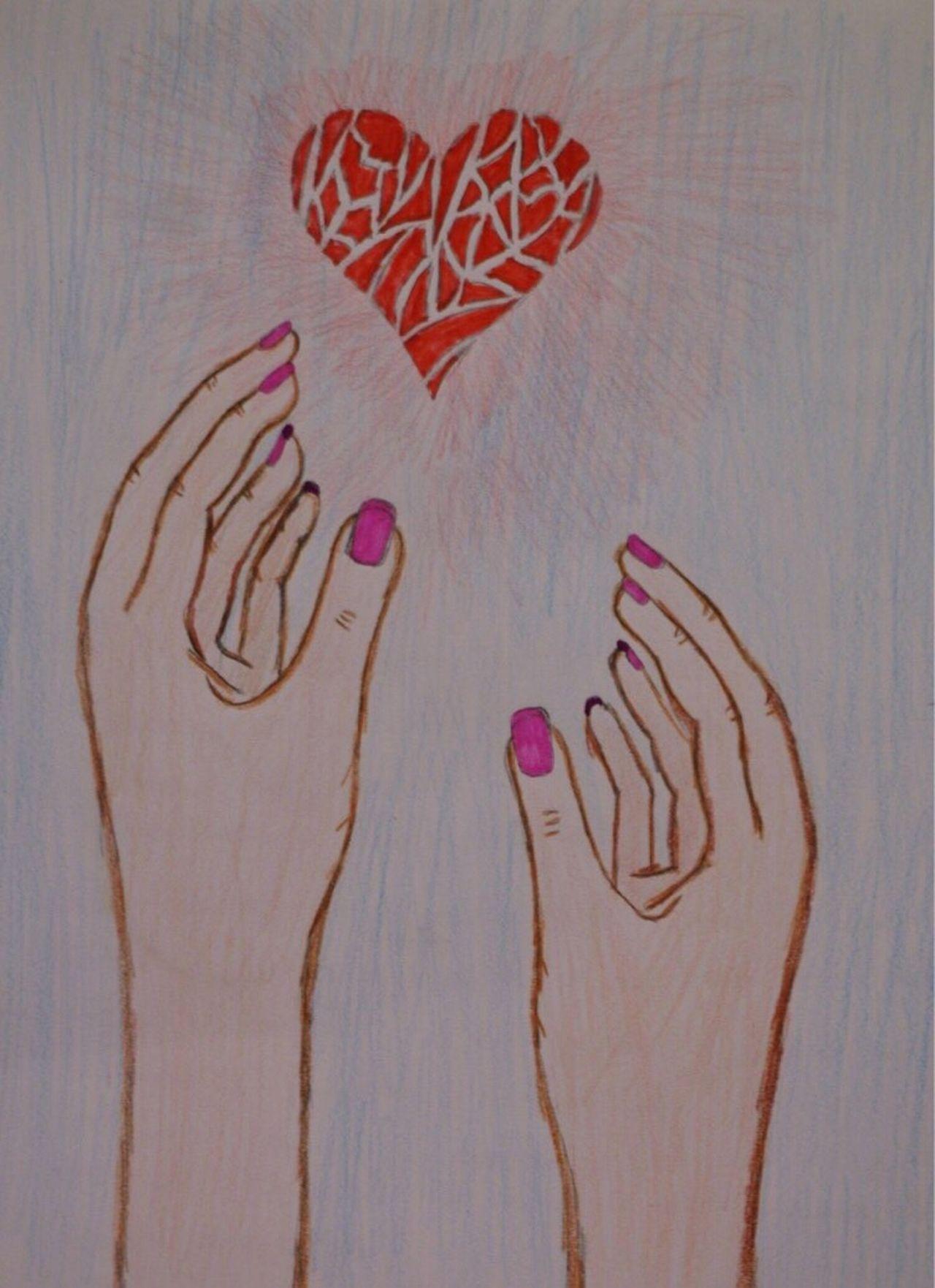 Art And Craft Drawing - Art Product Creativity Heart Shape Drawing - Activity Human Representation Drawn Human Body Part Indoors  ArtWork Close-up Human Hand Day Nikon Draw Drawing Ordinary Love - U2