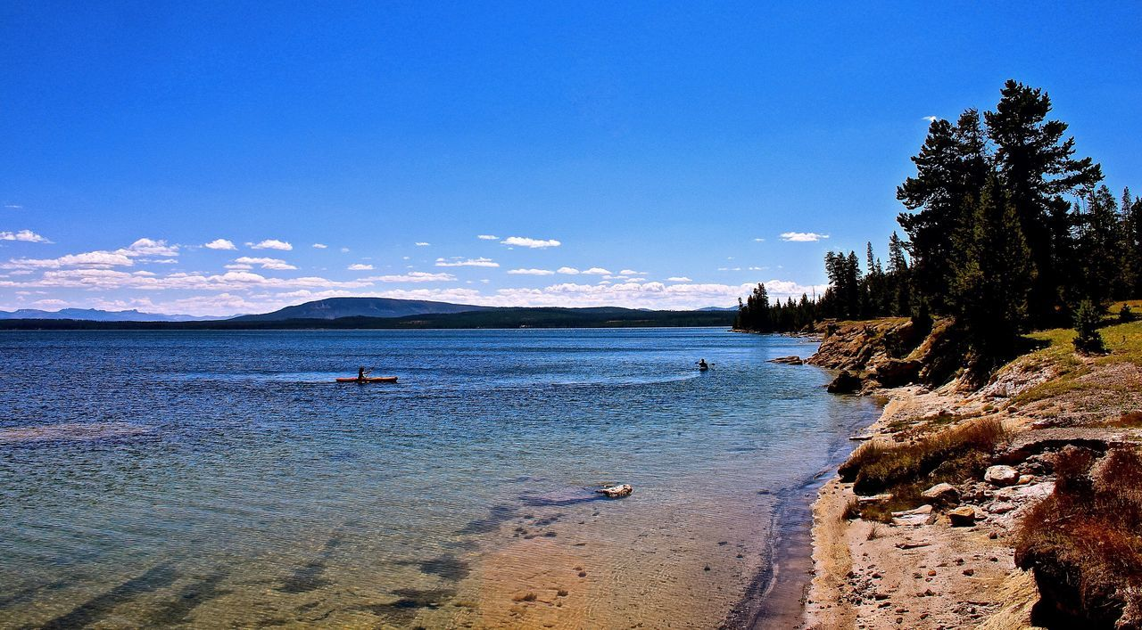 Beauty In Nature Blue Coastline Horizon Over Water Idyllic Outdoors Scenics Tranquil Scene Tranquility Travel Destinations Vacations Water Yellowstone Lake Yellowstone National Park