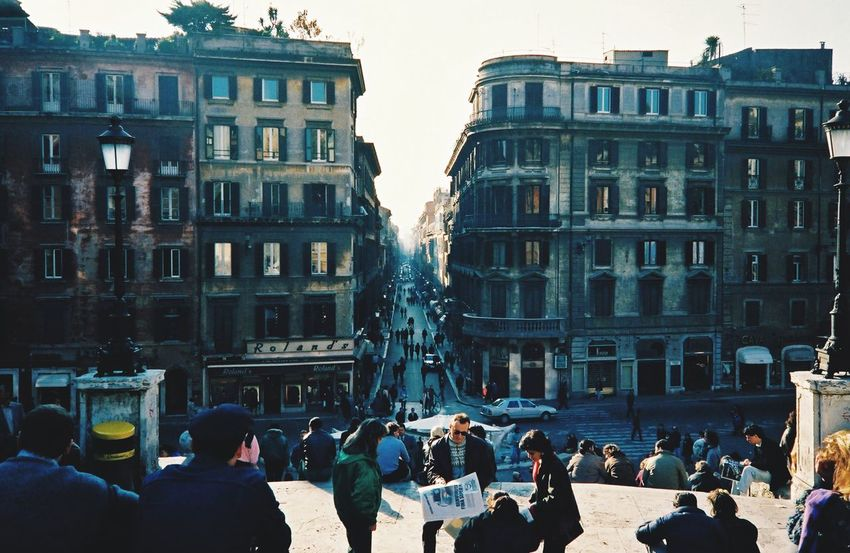 1986 Spanish Steps Architecture Building Exterior Built Structure Large Group Of People Real People Street Women Men Outdoors Day City Crowd Lifestyles Travel Destinations Sky People Roma Italy Italy🇮🇹