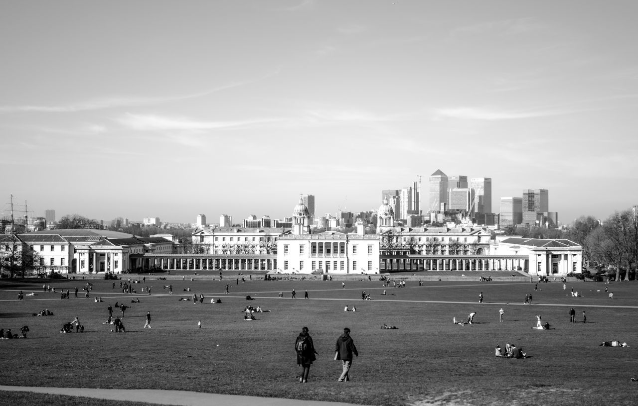 Architecture Building Exterior Built Structure City City Life Cityscape Greenwich Greenwich Park Large Group Of People London Outdoors Person Sky Skyline Skyscraper Tourism Tranquility Travel Destinations Urban Skyline