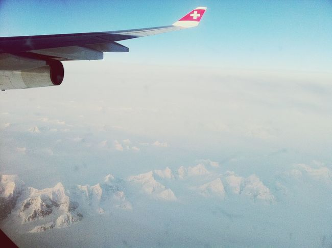 From An Airplane Window Starting A Trip Airplane Swissair