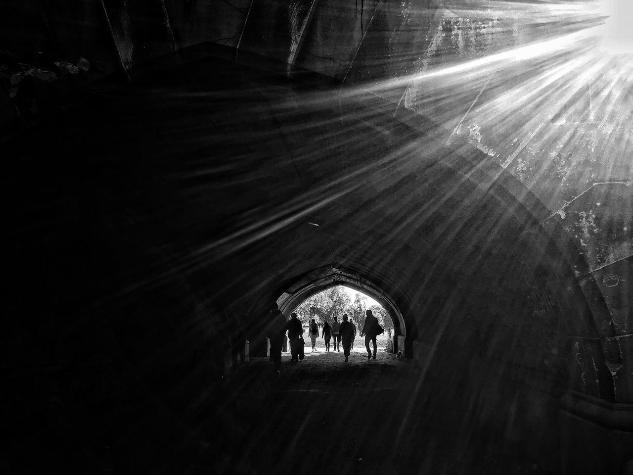 Sunlight Built Structure Monochrome Photography Architecture Real People Men Sunbeam Arch Prospect Park Blackandwhite Black & White Black And White Tunnel ProspectPark