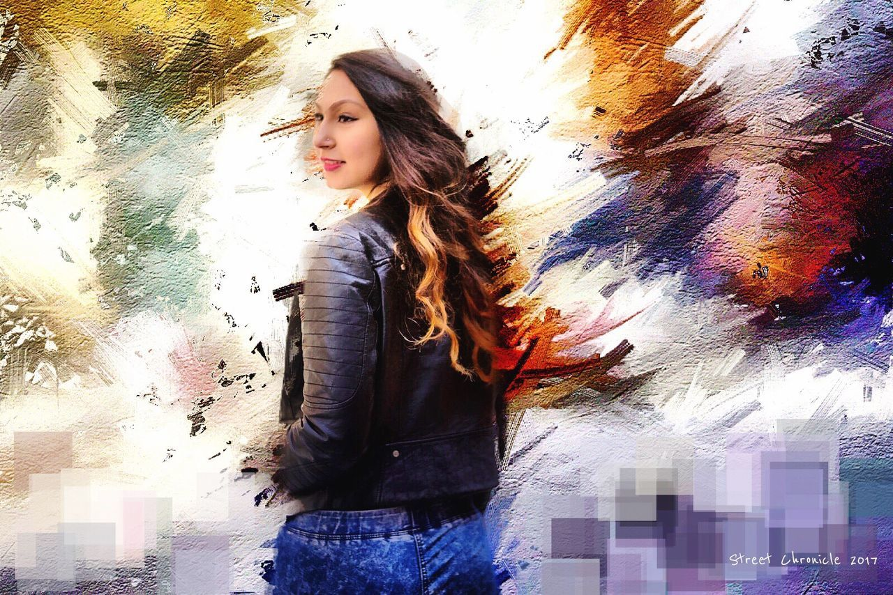 Only Women One Woman Only One Person Beautiful Woman Adults Only Women Adult Beauty People Multi Colored One Young Woman Only Indoors  Young Women Young Adult Day Lifestyles Arts Culture And Entertainment Art Gallery Artist Fashion City Beautiful People Art, Drawing, Creativity Digital Art Artistic
