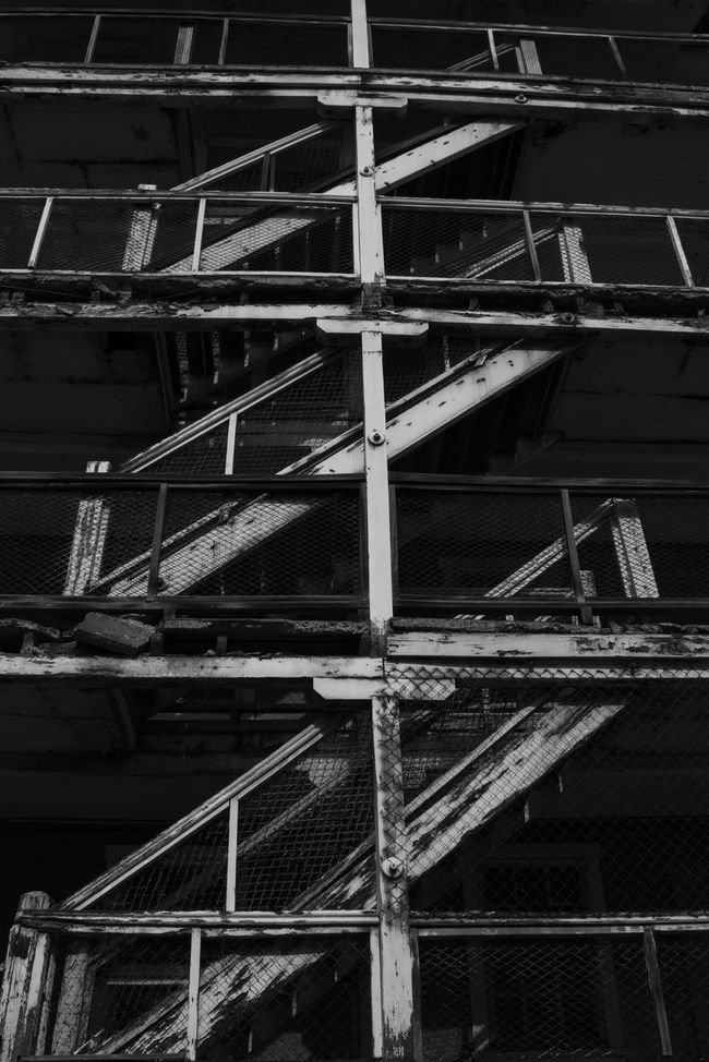 Monochrome Photography Architecture Low Angle View Built Structure Building Exterior Development Full Frame Engineering Outdoors Day Building Story City Life No People Architectural Feature World Heritage Blackandwhite Heritage Chile Sewell Coppermine El Teniente