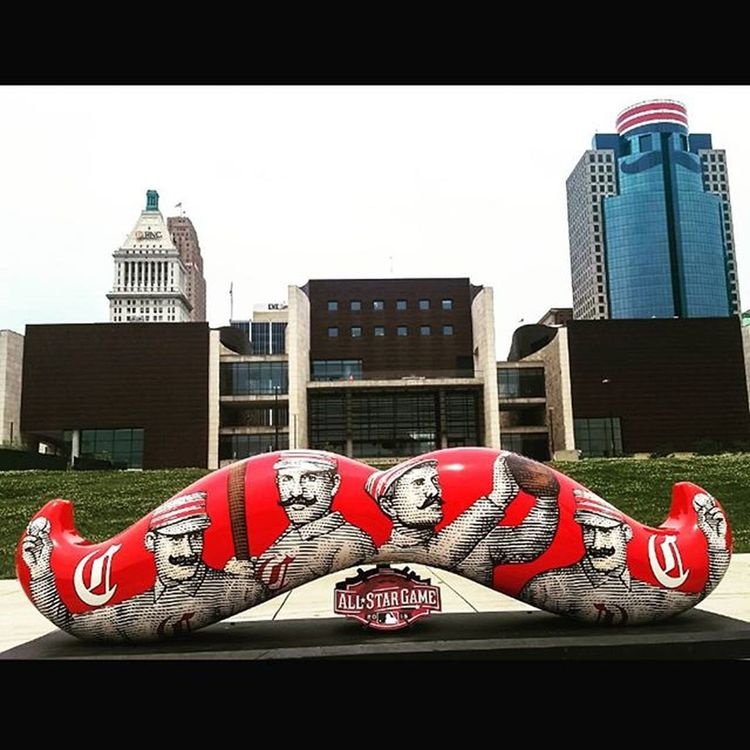 So excited for the All Star Game in Cincinnati next week! Love all of the mustaches around town! ASG AllStarGame Cincinnati Ohio Reds Baseball Explore Travel Wanderlust Cincyusa