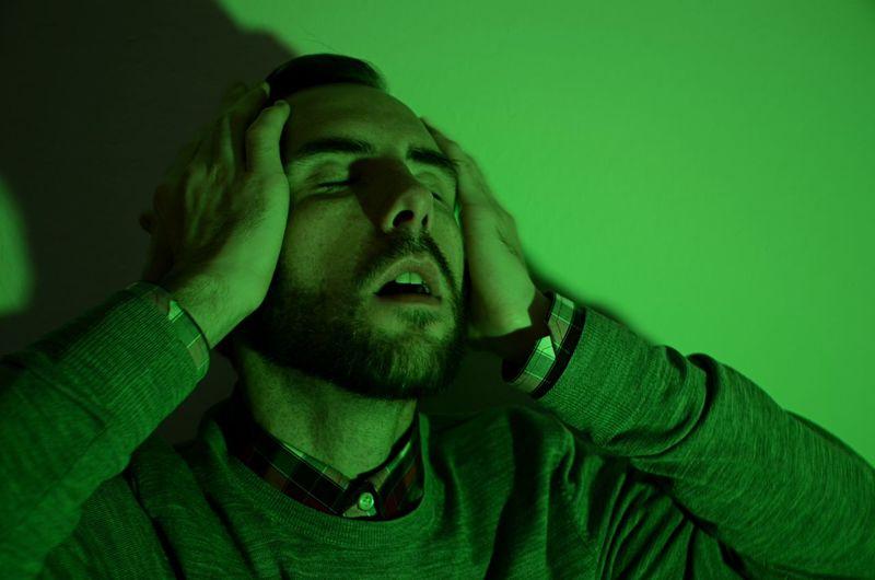 Man In Ecstasy Man Who Forgot Something Bearded Man Frustration Pleasure Portrait Shadow Strong Green Light Studio Shot