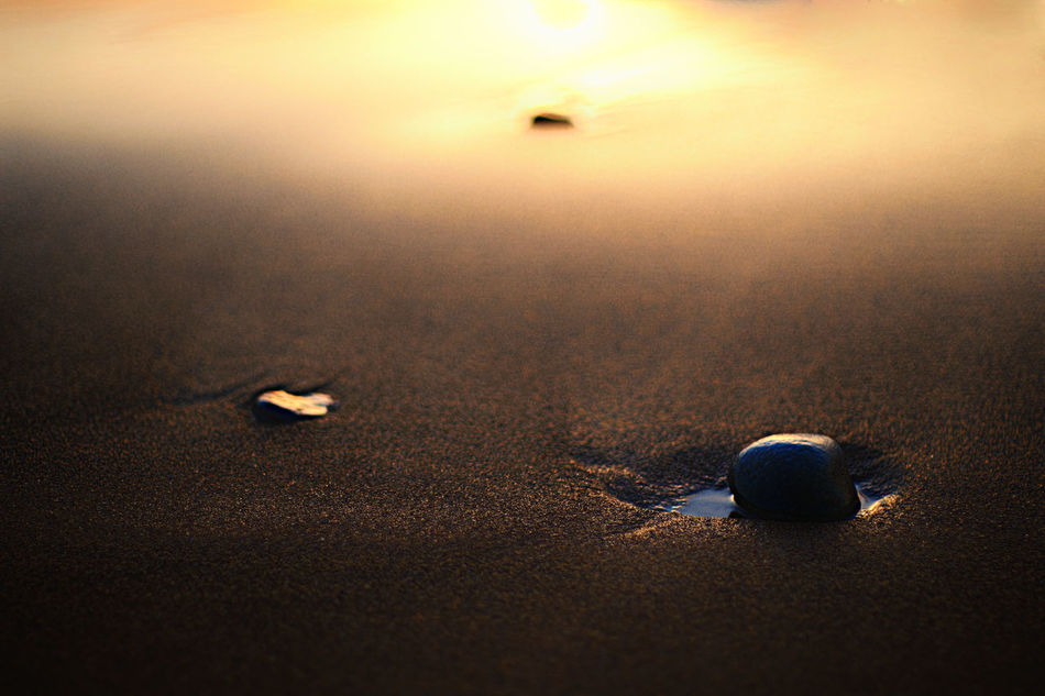 Alone Beach Photography Close-up Cropped Depth Of Field Glowing Imagination Light Mystery No People Outodoors Part Of Pebble Beach Photography Themes Sand Shiny Single Object Summer Sunset Surface Level Vignette White