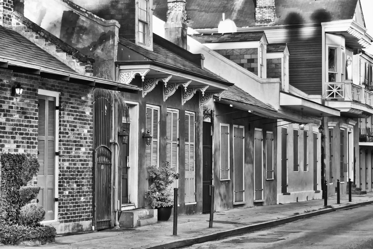A street in New Orleans Architecture Black & White Black & White Photography Black And White Black And White Collection  Blackandwhite Bnw_collection Building Exterior Built Structure Bw BW Collection Bw_collection Day Dixie Dixieland Doors Doorway Houses Monochrome Monochrome _ Collection New Orleans Outdoors Street Photography Streetphoto_bw USA