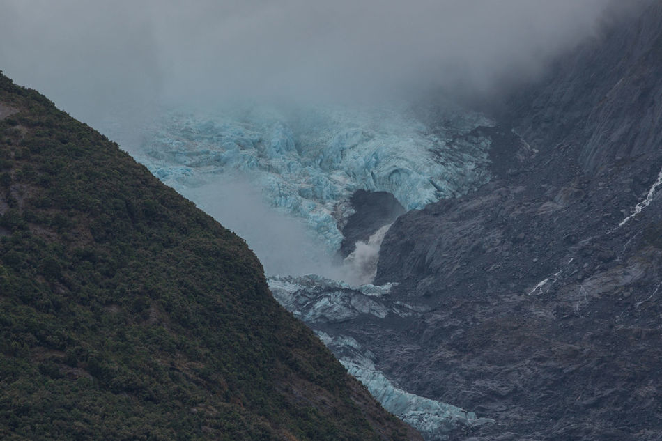 Adverse Conditions Beauty In Nature Blackandwhite Blie Fog Foggy Geology Glacier Glacier Mouth Glacier Snouth Ice Ice Age Majestic Melting Mountain Mountain Range Nature Perpetual Ice Physical Geography Rough Scenics Water Miles Away St. Josef Glacier New Zealand