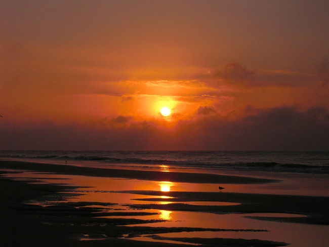 Hurricane sunrise Beauty In Nature Cloud - Sky Horizon Over Water Hurricane Idyllic Lone Sandpiper Majestic Nature No People Ocean Orange Color Reflection Sea Seascape Shore Sun Sunrise Tranquil Scene Water