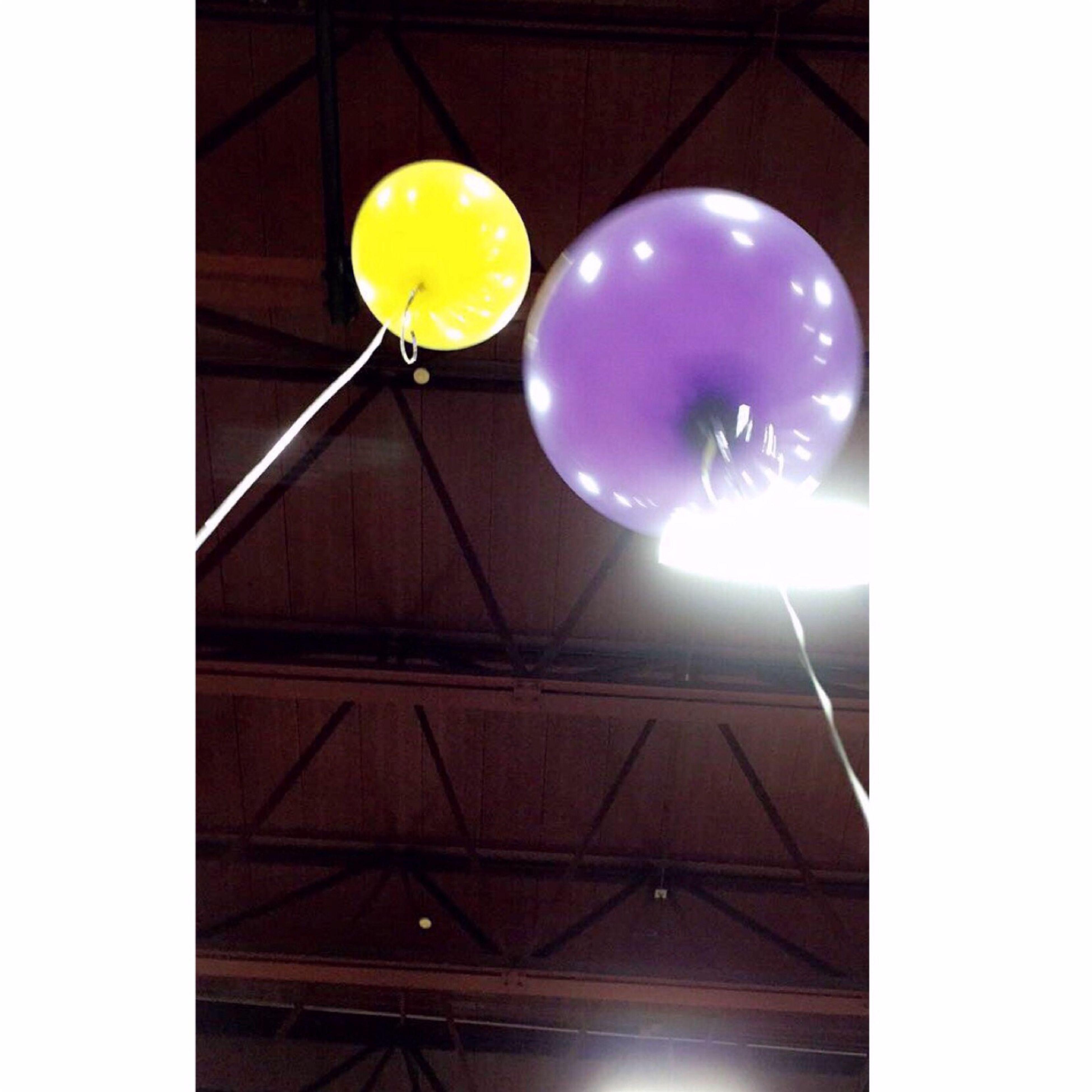 balloon, low angle view, no people, illuminated, helium balloon, indoors, architecture, night