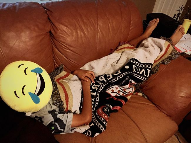 Night Night, Sleep Tight Emoji Pillows Emoji Brother Couch Chilling Knocked Out Sleeping Exhausted Funny Check This Out Cheese! Taking Photos Blanket Comfortable Body