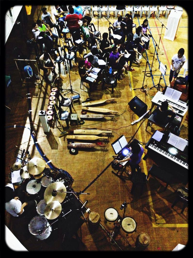 Church mass's rehearsal in the stadium. Rehearsal