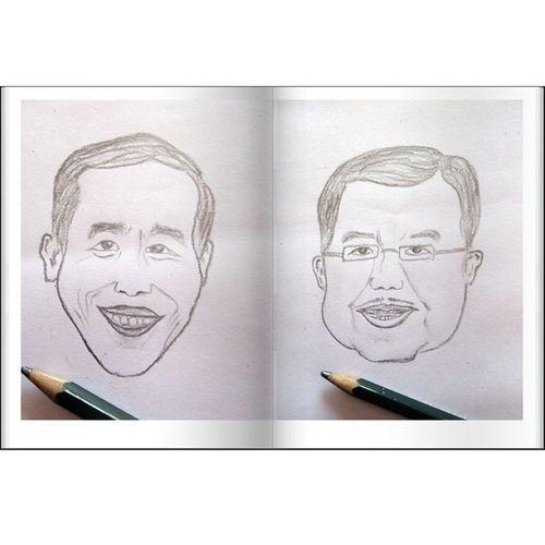 Jangan lupa 9 Juli. Salurkan suaramu untuk masa depan Indonesia sejahtera. Pemilu Sketch Jokowi JusufKalla presiden jokowijk Indonesia instapict karikatur @irjokowidodo @jusufkalla
