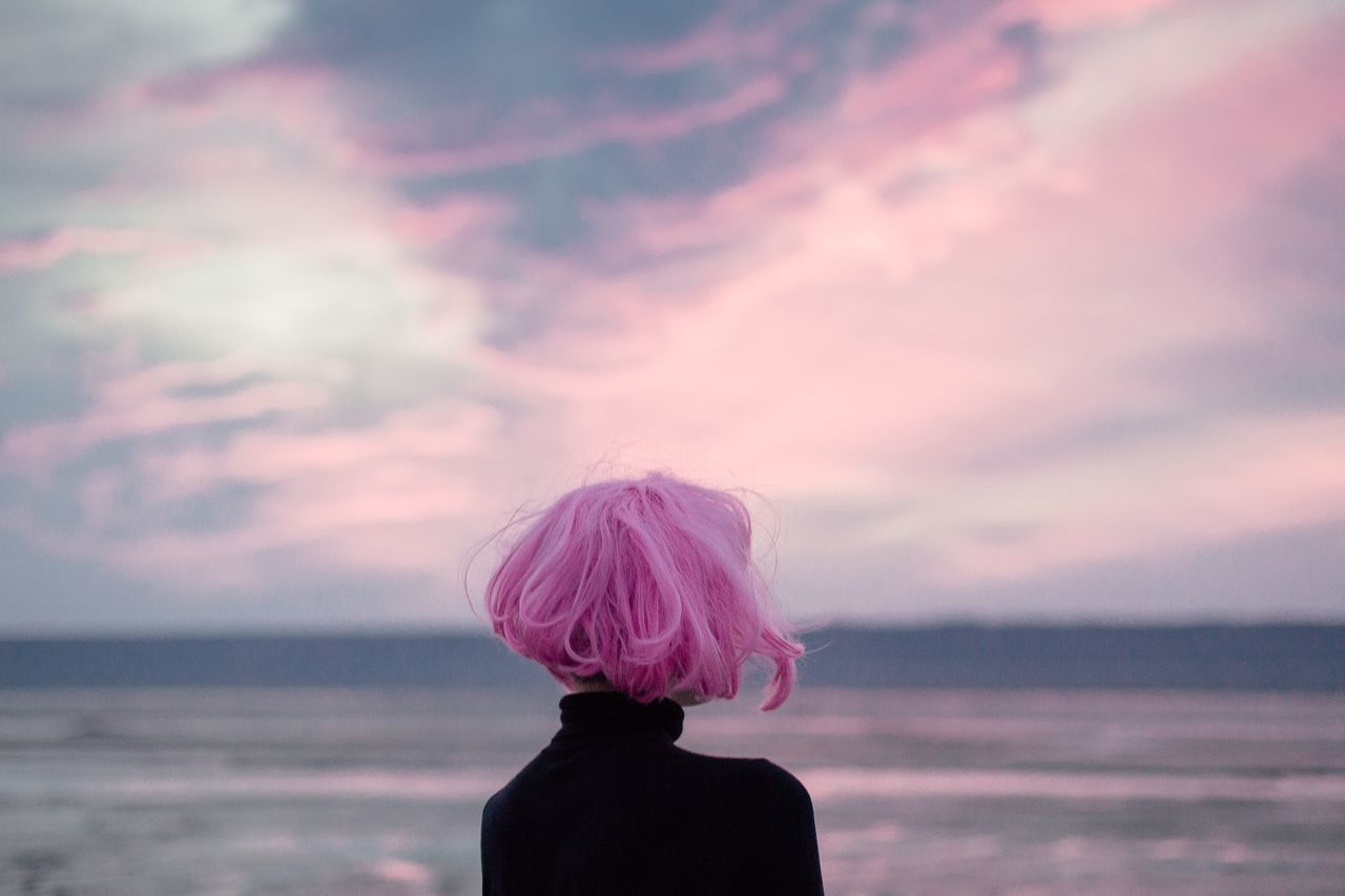 Alien invasion Alien beauty in Nature cloud - sky dyed hair EyeEmNewHere horizon over water Melancholic Landscapes Nature one woman only one young woman only outdoors personal perspective pink color pink hair Pink Sky Rear view sea sea and sky seascape seaside sky sunset Sunset_collection water wig Fresh on Market 2017 Millennial Pink Long Goodbye