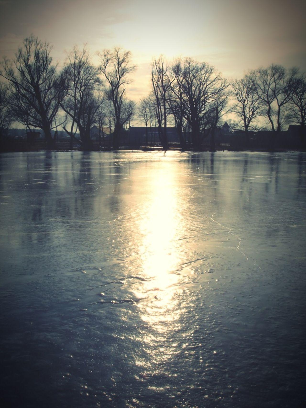 frozen lake in sundown. evening. germany, hohennauen. Hohennauen Havelland Germany Brandenburg