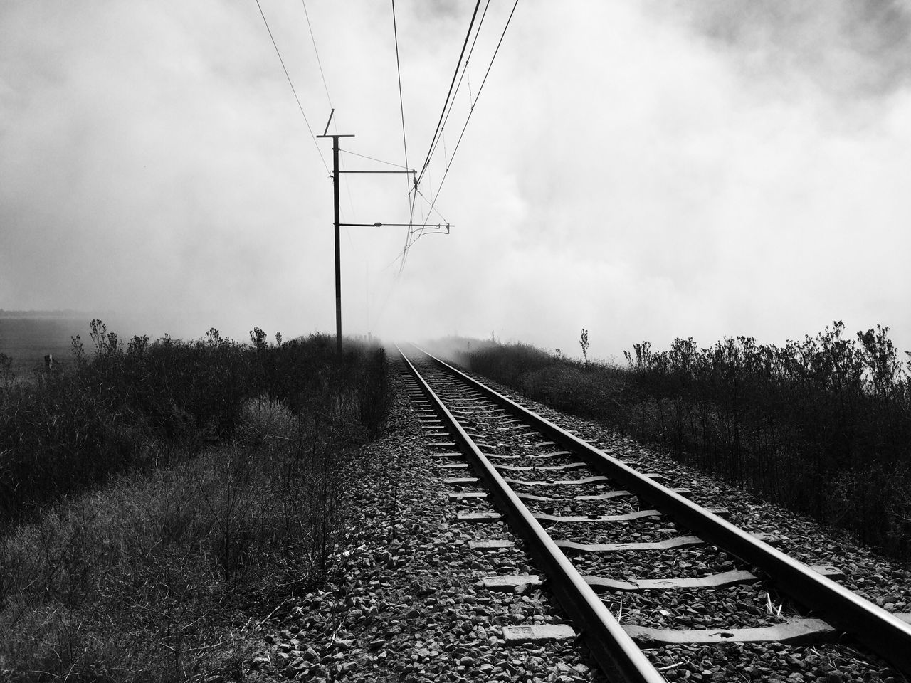 Smoke over a train track Smoke Fire Train Tracks Iphonephotography Amateurphotography Amateur Shot Railroad Track Black And White Day The Way Forward Outdoors