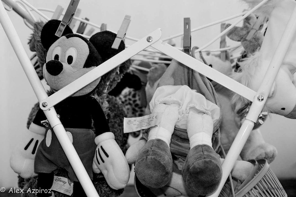 Hanging Mikey out to dry. Black And White Photography Children Disney Fun Funny Geometric Hang Dry Stuffed Toy