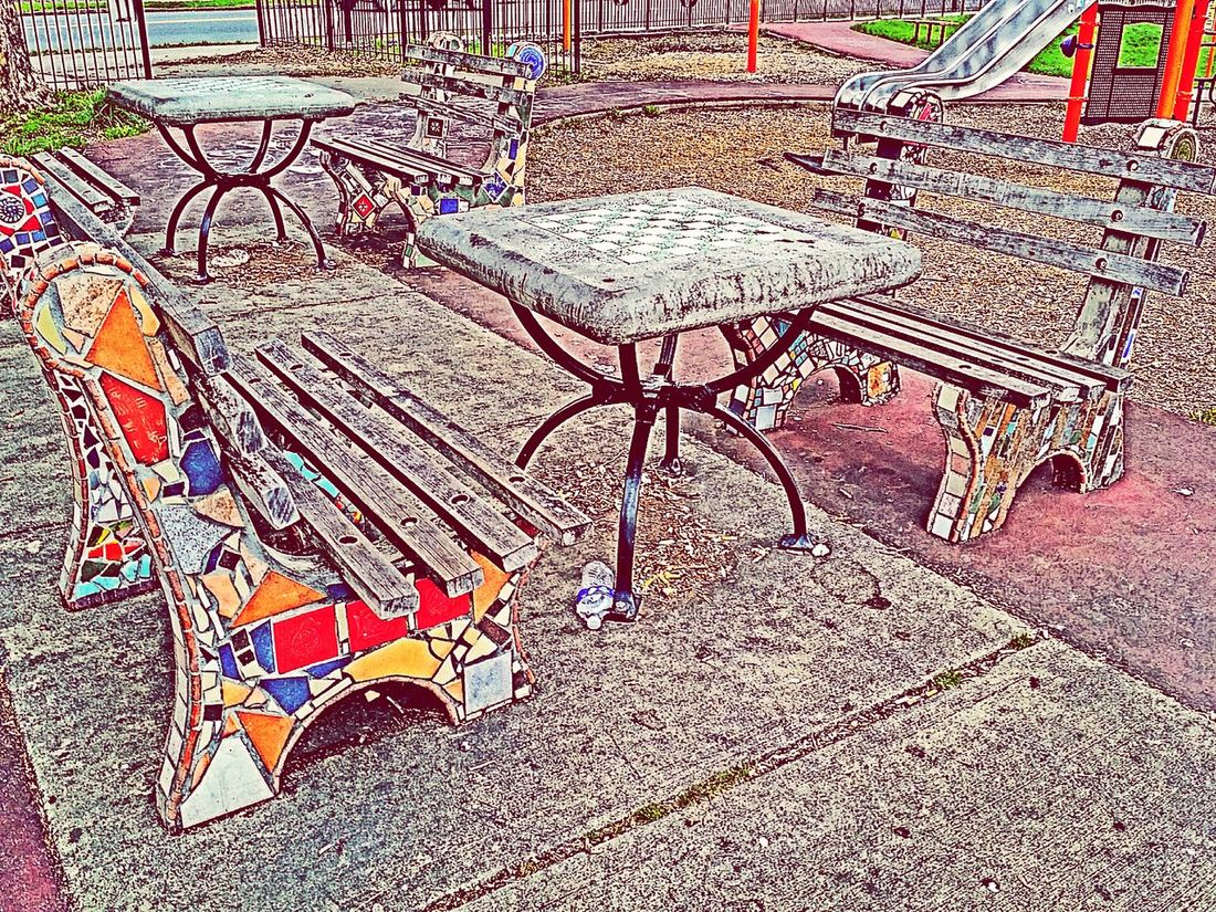 At The Park Playground Park Benches Chessboard Hdrphotography Hdr Edit Colorful Mosaicart Restful Place City Parks